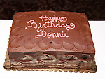 Birthday cake for Bonnie Comley at the UMass Lowel Cockail Party for 'Sunset Boulevard' hosted by Chancellor Jacquie Moloney, Bonnie Comley and Stewart F. Lane at Sardi's on April 5, 2017 in New York City