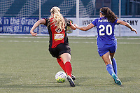 Rochester, NY - Friday May 27, 2016: Western New York Flash forward Makenzy Doniak (3) is marked by Boston Breakers defender Mollie Pathman (20)The Western New York Flash defeated the Boston Breakers 4-0 during a regular season National Women's Soccer League (NWSL) match at Rochester Rhinos Stadium.