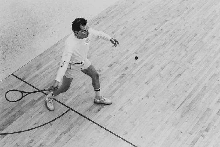 Sen. Arlen Specter, R-Pa., playing squash.  The Senator won 4 out of 6 games but didn't make finals. Marhc 5, 1985 (Photo by Laura Patterson/CQ Roll Call via Getty Images)