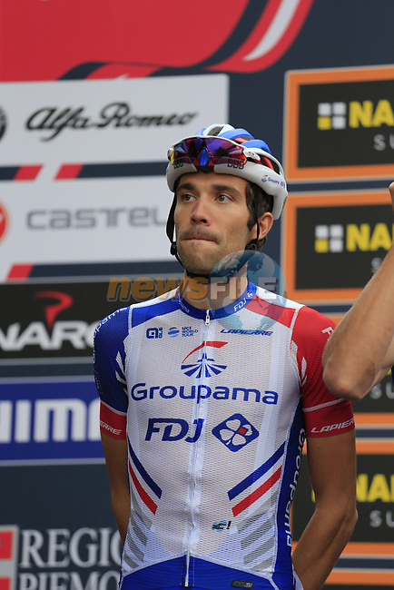 Thibaut Pinot (FRA) Groupama-FDJ at sign on before the start of the 99th edition of Milan-Turin 2018, running 200km from Magenta Milan to Superga Basilica Turin, Italy. 10th October 2018.<br /> Picture: Eoin Clarke | Cyclefile<br /> <br /> <br /> All photos usage must carry mandatory copyright credit (© Cyclefile | Eoin Clarke)
