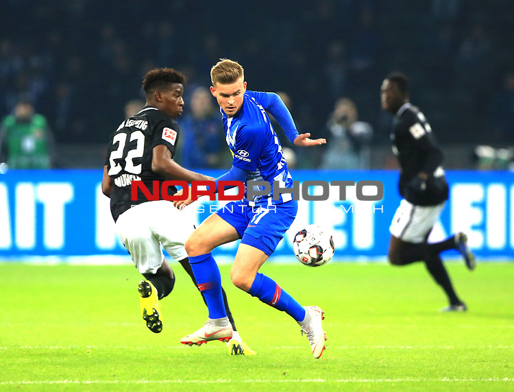 03.11.2018, OLympiastadion, Berlin, GER, DFL, 1.FBL, Hertha BSC VS. RB Leipzig, <br /> DFL  regulations prohibit any use of photographs as image sequences and/or quasi-video<br /> <br /> im Bild <br /> Maximilian Mittelstaedt (Hertha BSC Berlin #17), Nordi Mukiele (RB Leipzig #22)<br /> <br />       <br /> Foto &copy; nordphoto / Engler