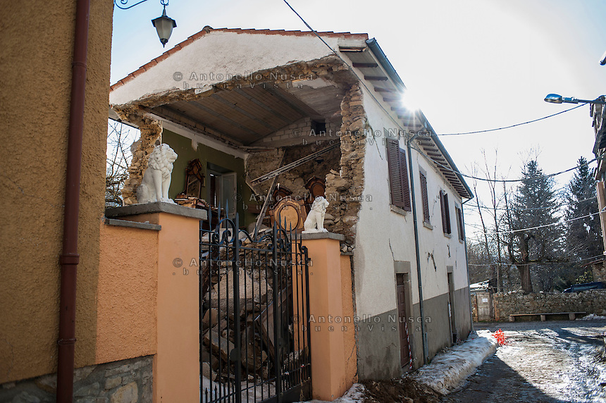 Amatrice, Italy, February 13, 2017. Destroyed houses at Capriccio, hamlet of Amatrice, Six months after the earthquake, nothing has changed. The rubble is still there; nothing has been moved, recorded or stored. People are still living in provisional accommodation but the greatest loss, to many residents, is the loss of their former peaceful lives.