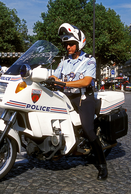 Motorcycle police, policeman, National Police, Place de la Bastille, city of Paris, Ile de France region, France, Europe