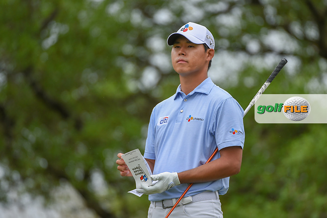Si Woo Kim (KOR) looks over his tee shot on 2 during day 4 of the Valero Texas Open, at the TPC San Antonio Oaks Course, San Antonio, Texas, USA. 4/7/2019.<br /> Picture: Golffile | Ken Murray<br /> <br /> <br /> All photo usage must carry mandatory copyright credit (© Golffile | Ken Murray)