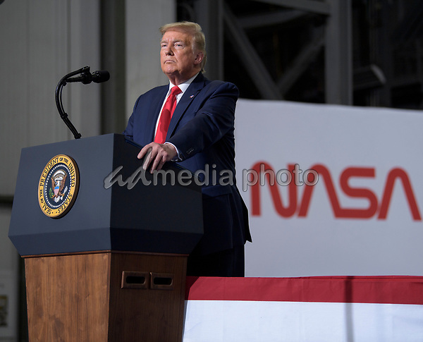 In this photo released by the National Aeronautics and Space Administration (NASA), President Donald Trump speaks inside the Vehicle Assembly Building following the launch of a SpaceX Falcon 9 rocket carrying the company's Crew Dragon spacecraft on NASA's SpaceX Demo-2 mission with NASA astronauts Robert Behnken and Douglas Hurley onboard, Saturday, May 30, 2020, at NASA's Kennedy Space Center in Florida. NASA's SpaceX Demo-2 mission is the first launch with astronauts of the SpaceX Crew Dragon spacecraft and Falcon 9 rocket to the International Space Station as part of the agency's Commercial Crew Program. The test flight serves as an end-to-end demonstration of SpaceX's crew transportation system. Behnken and Hurley launched at 3:22 p.m. EDT on Saturday, May 30, from Launch Complex 39A at the Kennedy Space Center. A new era of human spaceflight is set to begin as American astronauts once again launch on an American rocket from American soil to low-Earth orbit for the first time since the conclusion of the Space Shuttle Program in 2011. Photo Credit: (NASA/Bill Ingalls)<br /> Mandatory Credit: Bill Ingalls / NASA via CNP/AdMedia