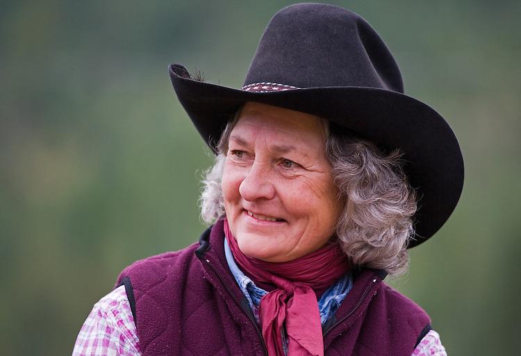 Smiling cowgirl portrai closeup