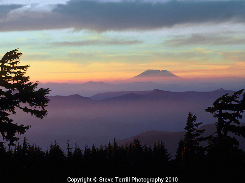 Mt St Helens viewed at sunset from Mt Hood Wildereness, Oregon
