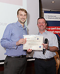 22/07/2015 GP Trainee Awards and Michael Lennard Reception 2015 hosted at The Holiday Inn, Filton, Bristol, by MDU. Dr Peter Torrance (Swindon) is awarded the Personal Achievement prize by Dr Gavin Durrant of Swindon Trainers' Group.