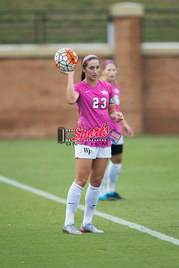 Kendall Fischlein (23) of the Wake Forest Demon Deacons prepares to throw the ball in during first half action against the North Carolina Tar Heels at Spry Soccer Stadium on September 27, 2015 in Winston-Salem, North Carolina.  The Tar Heels defeated the Demon Deacons 1-0.  (Brian Westerholt/Sports On Film)