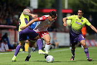 Nicky Law and Craig Woodman of Exeter City and Arthur Iontton of Stevenage during Stevenage vs Exeter City, Sky Bet EFL League 2 Football at the Lamex Stadium on 10th August 2019