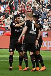 14.04.2018, BayArena, Leverkusen , GER, 1.FBL., Bayer 04 Leverkusen vs. Eintracht Frankfurt<br /> im Bild / picture shows: <br /> Torjubel / Jubel / Jubellauf,   zum 1:0  Kevin Volland (Leverkusen #31), <br /> Julian Brandt (Leverkusen #10), der Torsch&uuml;tze <br /> Leon Bailey (Leverkusen #9), <br /> <br /> <br /> Foto &copy; nordphoto / Meuter