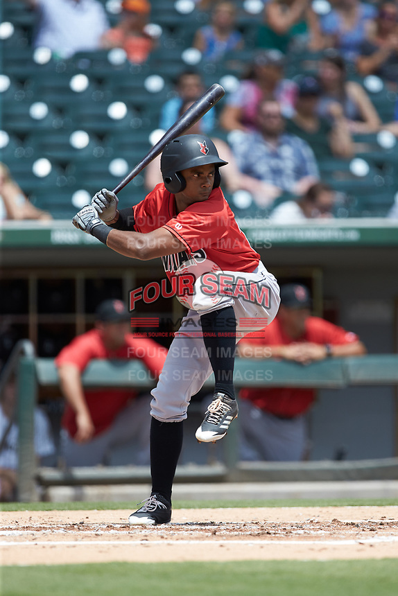 Pablo Reyes (12) of the Indianapolis Indians at bat against the Charlotte Knights at BB&T BallPark on August 22, 2018 in Charlotte, North Carolina.  The Indians defeated the Knights 6-4 in 11 innings.  (Brian Westerholt/Four Seam Images)