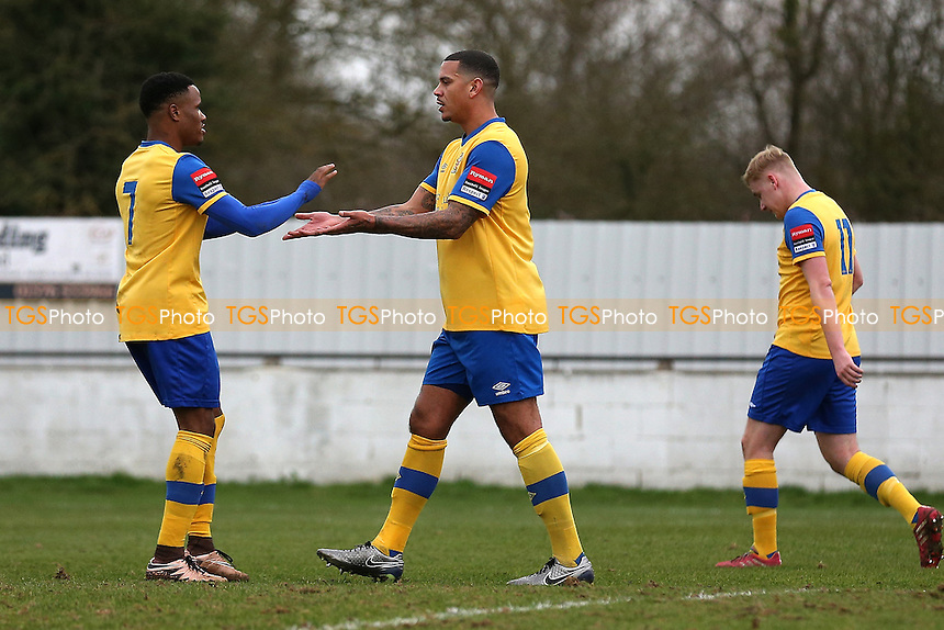 Leon McKenzie of Hornchurch (C) scores the second goal for his team and celebrates during Heybridge Swifts vs AFC Hornchurch, Ryman League Division 1 North Football at The Texo Stadium, Scraley Road on 25th February 2017