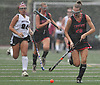 Jessica de la Bastide #26 of Friends Academy moves the ball downfield during a rain-filled Nassau County League 3 varsity field hockey game against host North Shore High School in Glen Head on Thursday, Oct. 11, 2018. She scored the Quakers' lone goal. North Shore won by a score of 3-1.