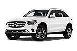 Stock pictures of low aggressive front three quarter view of 2020 Mercedes Benz GLC-Class GLC300 5 Door SUV Low Aggressive