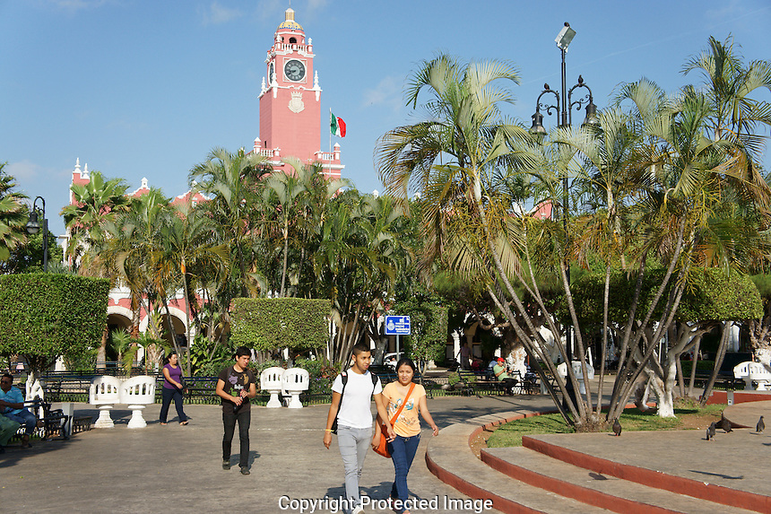 The Plaza Grande, main square in merida, Yucatan, Mexico