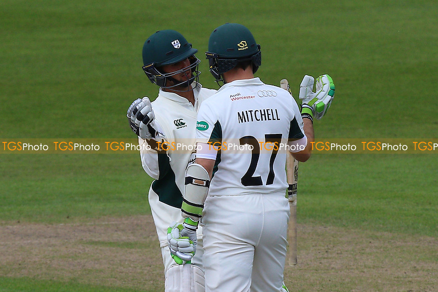 Daryl Mitchell (R) and Brett D'Oliveira enjoy a useful partnership for Worcestershire during Worcestershire CCC vs Essex CCC, Specsavers County Championship Division 2 Cricket at New Road on 3rd May 2016