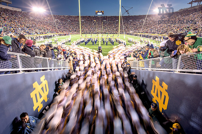 Oct. 17, 2015; The Notre Dame Marching Band takes the field before the game against USC. (Photo by Matt Cashore)