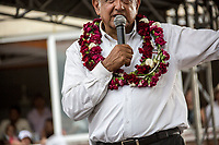 June 10, 2018: Andres Manuel Lopez Obrador, an opposition candidate of MORENA party running for presidency, gives a speech to supporters during his campaign rally at Tonala's municipality in Chiapas, Mexico. National elections will be hold on July 1.