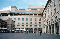 London: Covent Garden Royal Opera House, Piazza side. Showing Colonnades, rooftop loggias and, in back, Fly Tower.