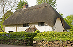 Historic thatched cottage at village of Sandy Lane, Wiltshire, England, UK