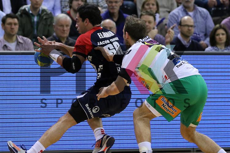 Flensburg, 25.03.15, Sport, Handball, DKB Handball Bundesliga, Saison 2014/2015, 26. Spieltag, SG Flensburg-Handewitt - Frisch Auf! G&ouml;ppingen : Ahmed Elahmar (SG Flensburg-Handewitt, #66), Marcel Schiller (Frisch Auf! G&ouml;ppingen, #24)<br /> <br /> Foto &copy; P-I-X.org *** Foto ist honorarpflichtig! *** Auf Anfrage in hoeherer Qualitaet/Aufloesung. Belegexemplar erbeten. Veroeffentlichung ausschliesslich fuer journalistisch-publizistische Zwecke. For editorial use only.