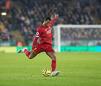26th December 2019; King Power Stadium, Leicester, Midlands, England; English Premier League Football, Leicester City versus Liverpool; Georginio Wijnaldum of Liverpool crossing the ball - Strictly Editorial Use Only. No use with unauthorized audio, video, data, fixture lists, club/league logos or 'live' services. Online in-match use limited to 120 images, no video emulation. No use in betting, games or single club/league/player publications