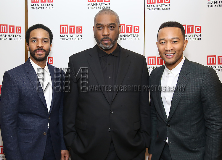 Andre Holland, Mike Jackson and John Legend attends August Wilson's 'Jitney' Broadway opening night after party at Copacabana on January 19, 2017 in New York City.
