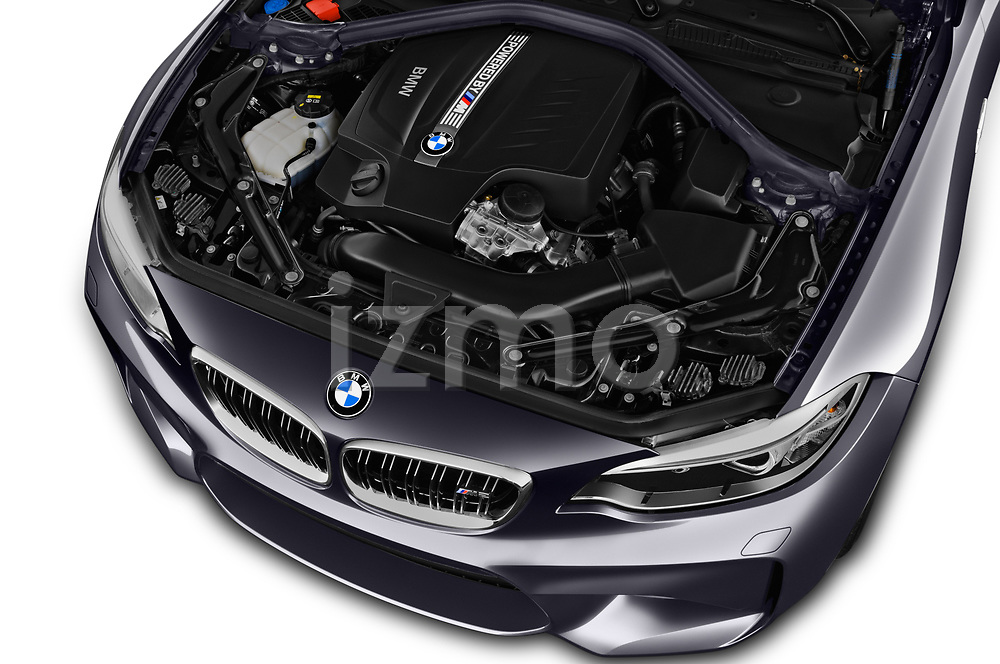 Car stock 2017 BMW M2 Base 2 Door Coupe engine high angle detail view