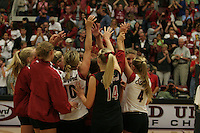 24 September 2005: Michelle Mellard, Kirsten Hornbeak, Kristin Richards, Courtney Schultz, Bryn Kehoe and Lizzy Suiter during Stanford's 3-0 win over UCLA at Maples Pavilion in Stanford, CA.