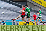 Stephen O'Sullivan Glenbeigh Glencar in action against Mark McAleer Rock Saint Patricks in the Junior Football All Ireland Final in Croke Park on Sunday.
