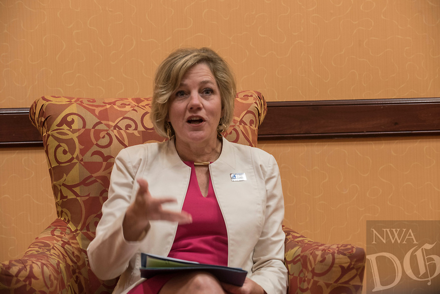 NWA Democrat-Gazette/SPENCER TIREY    Marcy Doderer CEO Arkansas Children's Northwest Hospital talks about the hospital Friday Aug. 3, 2018, during an interview at the John Q. Hammons center in Rogers.