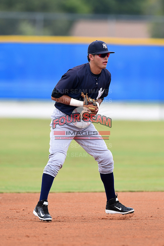 GCL Yankees 2 shortstop Angel Aguilar (2) during a game against the GCL Blue Jays on July 2, 2014 at the Bobby Mattick Complex in Dunedin, Florida.  GCL Yankees 2 defeated GCL Blue Jays 9-6.  (Mike Janes/Four Seam Images)