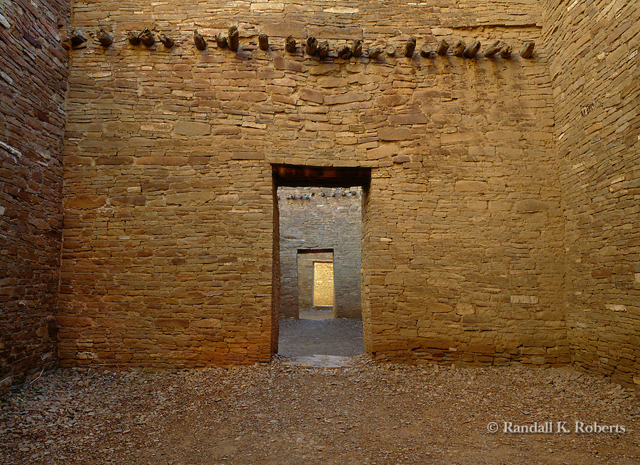 Ancient doorways through Pueblo Bonito ruins, Chaco Culture National Historical Park, New Mexico