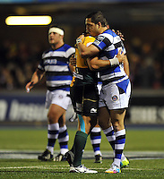 Horacio Agulla at the final whistle. Amlin Challenge Cup Final, between Bath Rugby and Northampton Saints on May 23, 2014 at the Cardiff Arms Park in Cardiff, Wales. Photo by: Patrick Khachfe / Onside Images