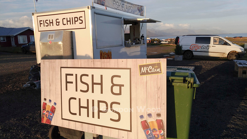 Fish and Chips trailer in Arnastapi. Chips from a Canadian company, no less.