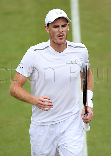 July 11th 2017, All England Lawn Tennis and Croquet Club, London, England; The Wimbledon Tennis Championships, Day 8; Jamie Murray (GBR) looks on during Martina Hingis (CHE) and Jamie Murray (GBR) versus Lucie Hradecka (CZE) and Roman Jebavy (CZE)