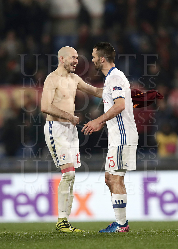 Football Soccer: Europa League Round of 16 second leg, Roma-Lyon, stadio Olimpico, Roma, Italy, March 16,  2017. <br /> Lyon's Christophe Jallet (l) and Jérémy Morel (r) celebrate at the end of the Europe League football soccer match between Roma and Lyon at the Olympique stadium, March 16,  2017. <br /> Despite losing 2-1, Lyon reach the quarter finals for 5-4 aggregate win.<br /> UPDATE IMAGES PRESS/Isabella Bonotto
