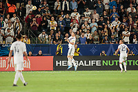 CARSON, CA - SEPTEMBER 15: Zlatan Ibrahimovic #9 of the Los Angeles Galaxy heads a ball during a game between Sporting Kansas City and Los Angeles Galaxy at Dignity Health Sports Complex on September 15, 2019 in Carson, California.