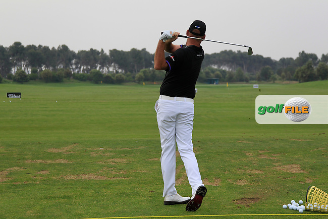 Thomas Bjorn (DEN) warming up on the driving range during Round 1 of the Open de Espana  in Club de Golf el Prat, Barcelona on Thursday 14th May 2015.<br /> Picture:  Thos Caffrey / www.golffile.ie