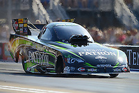 Jun. 15, 2012; Bristol, TN, USA: NHRA funny car driver Alexis DeJoria during qualifying for the Thunder Valley Nationals at Bristol Dragway. Mandatory Credit: Mark J. Rebilas-