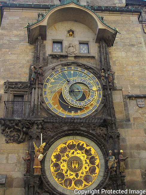 The Astronomical Clock was made by Mikulas of Kadan in 1410. The clock consists of windows with apostles at the top, the Astronomical Dial (which is the oldest part), the Calendar Dial underneath and various sculptures around.