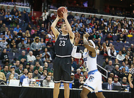 Washington, DC - March 11, 2018: Davidson Wildcats forward Peyton Aldridge (23) takes a shot during the Atlantic 10 championship game between Rhode Island and Davidson at  Capital One Arena in Washington, DC.   (Photo by Elliott Brown/Media Images International)