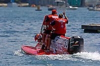 Winner Greg Foster (#53) takes a victory lap with his crew on board.   (Formula 1/F1/Champ class)