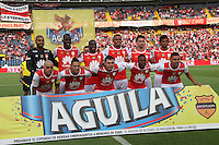 BOGOTA -COLOMBIA, 03-07-2016.Formació del Independiente Santa Fe ante Boyacá Chicó. Acción de juego entre el  Independiente Santa Fe con el  Boyacá Chicó durante encuentro  por la fecha 1 de la Liga Aguila II 2016 disputado en el estadio Nemesio Camacho El Campín./ Team of Independiente Santa Fe  against of Boyaca Chico .Actions game between  Santa Fe and Boyaca Chico during match for the date 1 of the Aguila League II 2016 played at Nemesio Camacho El Campin stadium . Photo:VizzorImage / Felipe Caicedo  / Staff