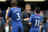 Watford Manager, Javi Gracia, shakes hands Chelsea's Pedro and Marcos Alonso at the final whistle during Chelsea vs Watford, Premier League Football at Stamford Bridge on 5th May 2019