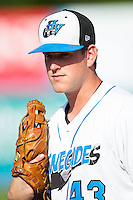 Casey Gillaspie (43) of the Hudson Valley Renegades prior to the game against the Brooklyn Cyclones at Dutchess Stadium on June 18, 2014 in Wappingers Falls, New York.  The Cyclones defeated the Renegades 4-3 in 10 innings.  (Brian Westerholt/Four Seam Images)
