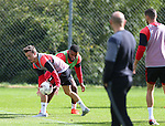Stefan Scougall of Sheffield Utd and Ethan Ebanks-Landell of Sheffield Utd during the Sheffield Utd training session at the Shirecliffe Training Complex , Sheffield. Picture date: September 29th, 2016. Pic Simon Bellis/Sportimage