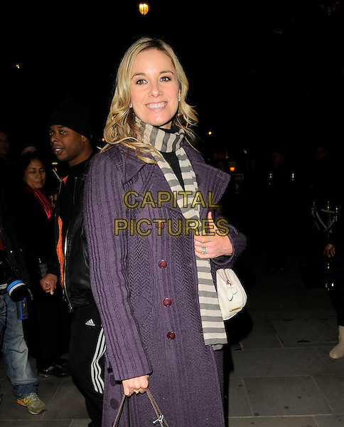 TAMZIN OUTHWAITE.The UGG Australia: London Store Launch in Covent Garden, London, England. .November 26th, 2008 .half length tamsin long purple coat jacket scarf striped stripes white grey gray cream knitted .CAP/CAN.©Can Nguyen/Capital Pictures.
