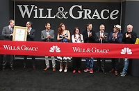 02 August 2017 - Universal City, California - Bob Greenblatt, Eric Garcetti, David Kohan, Max Mutchnick, Eric McCormack, Debra Messing, Megan Mullally, Sean Hayes and James Burrows. 'Will & Grace' Start Of Production Kick Off Event And Ribbon Cutting Ceremony. Photo Credit: F. Sadou/AdMedia